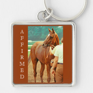 Affirmed Thoroughbred Racehorse 1978 Silver-Colored Square Key Ring