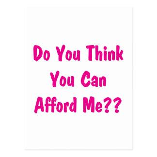 afford me pink postcard