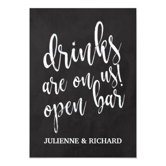 Affordable Chalkboard Wedding Open Bar Sign Card