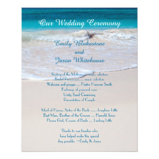 Affordable Tropcial Beach Wedding Program Template Custom Flyer