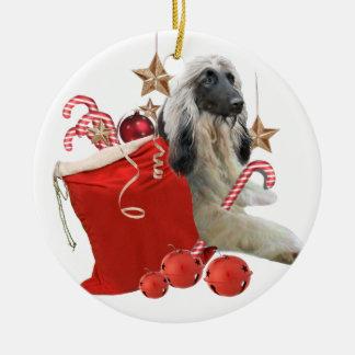 Afghan and Santa red bag Ceramic Ornament