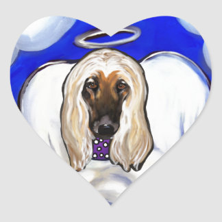 Afghan Hound Angel Heart Sticker