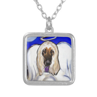 Afghan Hound Angel Silver Plated Necklace