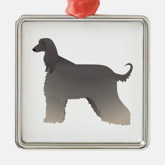 Afghan Hound Basic Breed Silhouette Metal Ornament