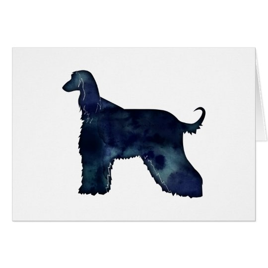Afghan Hound Black Watercolor Silhouette Card