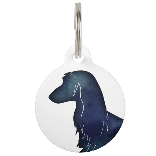 Afghan Hound Black Watercolor Silhouette Pet Tag