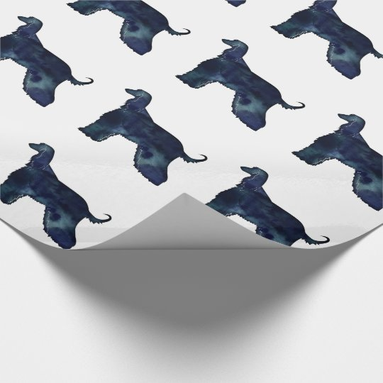 Afghan Hound Black Watercolor Silhouette Wrapping Paper