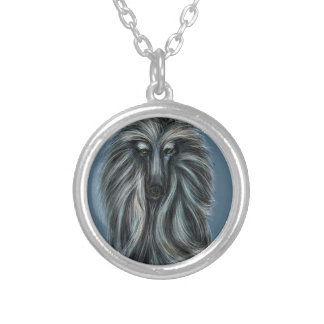 "AFGHAN HOUND by DIVINA ""MAGICO"" Silver Plated Necklace"