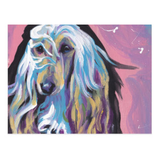 Afghan Hound colorful pop dog art Postcard