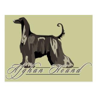 Afghan Hound, Detailed, Black Postcard