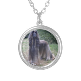 Afghan Hound Dog Silver Plated Necklace