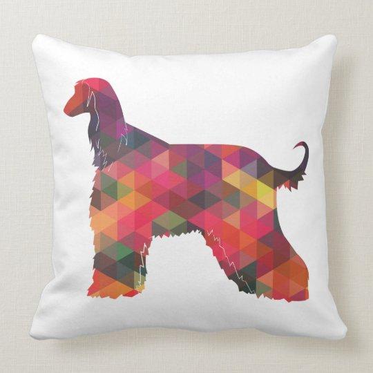 Afghan Hound Geometric Pattern Silhouette Multi Cushion