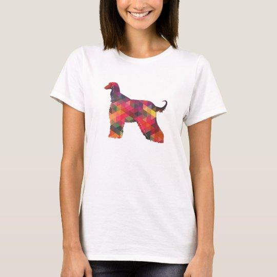 Afghan Hound Geometric Pattern Silhouette Multi T-Shirt