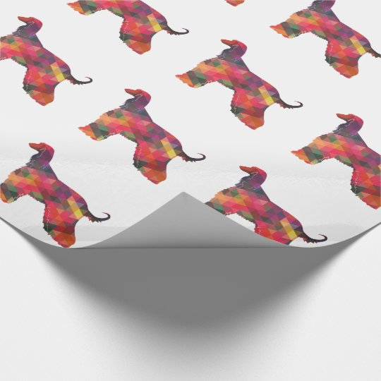 Afghan Hound Geometric Pattern Silhouette Multi Wrapping Paper