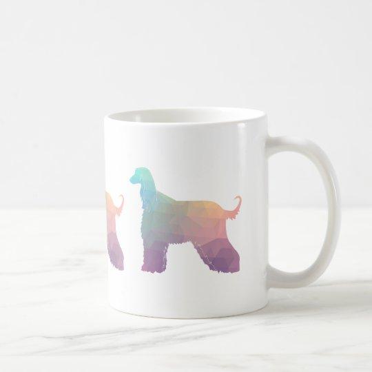 Afghan Hound Geometric Pattern Silhouette Pastel Coffee Mug