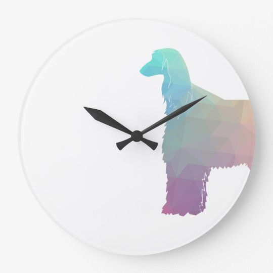 Afghan Hound Geometric Pattern Silhouette Pastel Large Clock