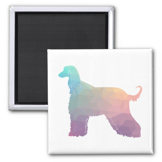 Afghan Hound Geometric Pattern Silhouette Pastel Magnet