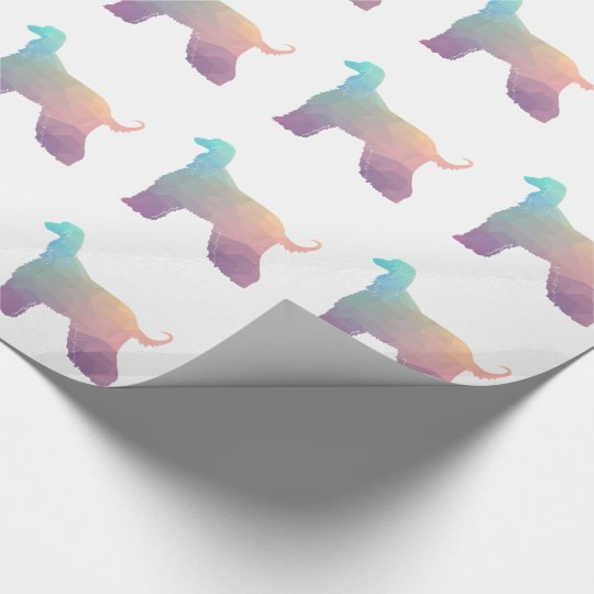 Afghan Hound Geometric Pattern Silhouette Pastel Wrapping Paper