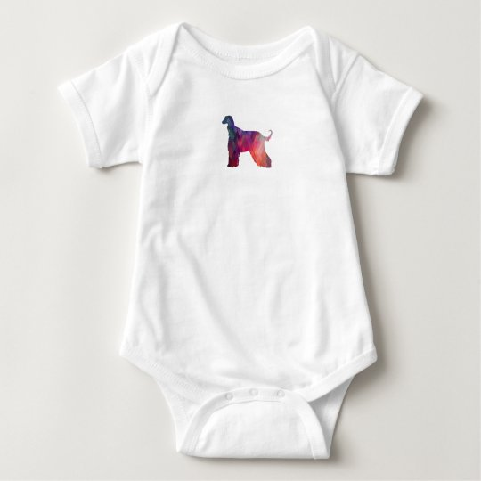 Afghan Hound Geometric Pattern Silhouette Pink Baby Bodysuit