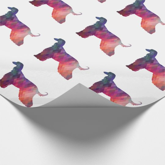 Afghan Hound Geometric Pattern Silhouette Pink Wrapping Paper