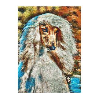 Afghan Hound Oil Portrait On Canvas