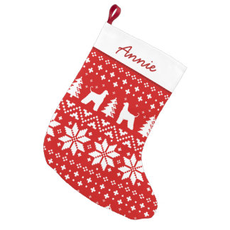 Afghan Hound Silhouettes Holiday Pattern Small Christmas Stocking