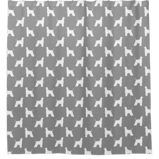 Afghan Hound Silhouettes Pattern Grey Shower Curtain