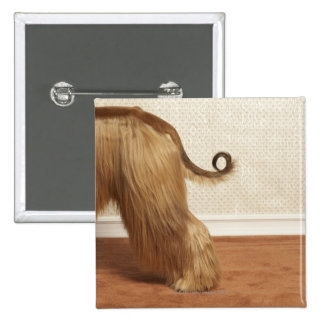 Afghan hound standing in room, end section 15 cm square badge