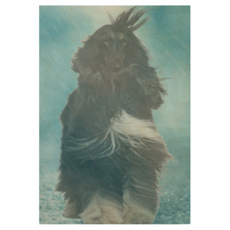 Afghan Hound Wind and Rain Blown Wood Poster