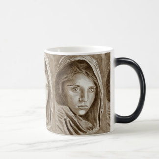 Afghan Refugee Girl, My Pencil Drawing 2004 Magic Mug