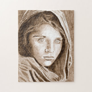 Afghan Refugee Girl, My Pencil Drawing 2004 Puzzle