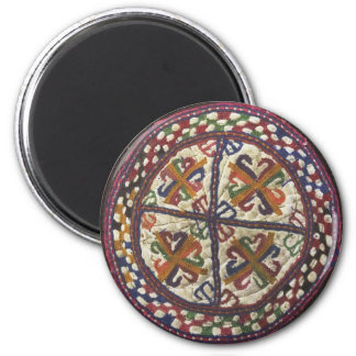 Afghan Tribal Embroidery: Top of the Hat 6 Cm Round Magnet