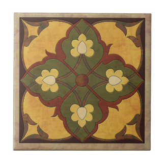Afghani Pattern in Mustard, Russet and Olive Green Tile