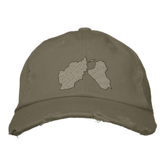 Afghanistan and Iraq Maps Embroidered Baseball Cap