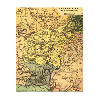 Afghanistan and Surrounding Countries Map Stretched Canvas Print