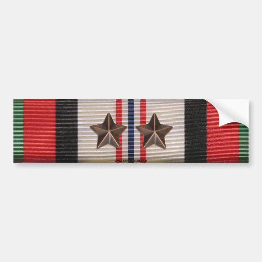 Afghanistan Campaign Ribbon 2 Star Bumper Sticker