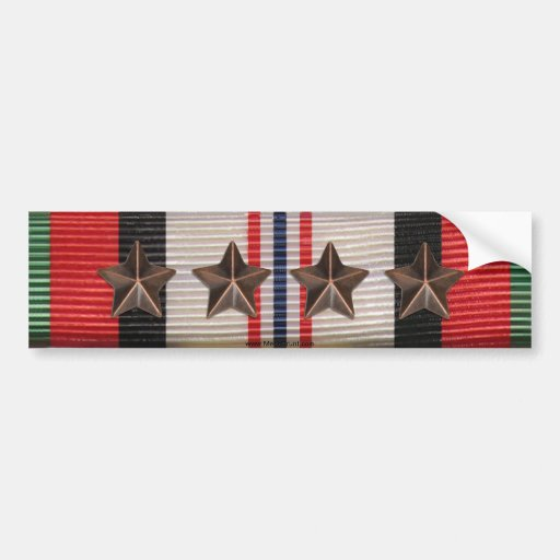 Afghanistan Campaign Ribbon 5 Star Bumper Sticker