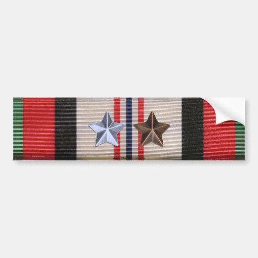 Afghanistan Campaign Ribbon 6 Star Bumper Sticker