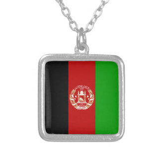Afghanistan Flag Silver Plated Necklace