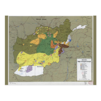 Afghanistan Major Insurgent Groups Map (1985) Postcard