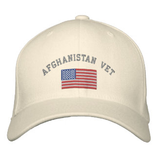 Afghanistan Vet with American Flag Embroidered Hat