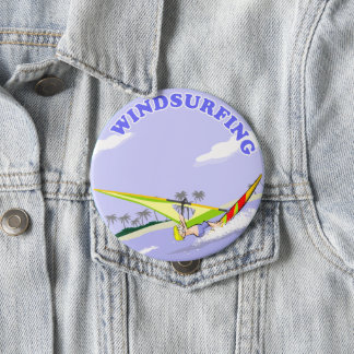 Aficcionado to windsurfing 10 cm round badge
