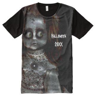Afraid Doll Scary Halloween All-Over Print T-Shirt