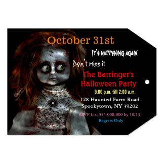 Afraid Doll Scary Halloween Invitation VIP Pass