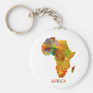 Africa Basic Round Button Key Ring