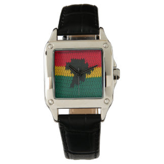 Africa Black Red Gold Green Crochet Print Leather Watch