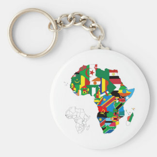 Africa Continent Flag Map Basic Round Button Key Ring