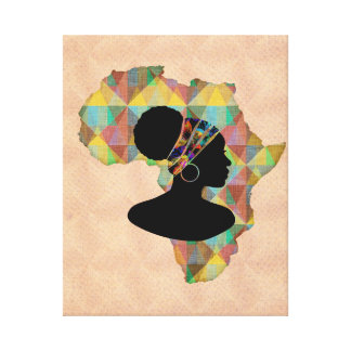 Africa Country and African Woman in Head Wrap Canvas Print