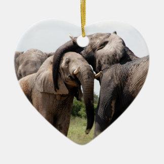 Africa Elephant Family Ceramic Heart Decoration