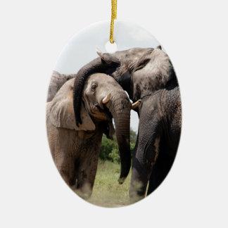 Africa Elephant Family Ceramic Oval Decoration